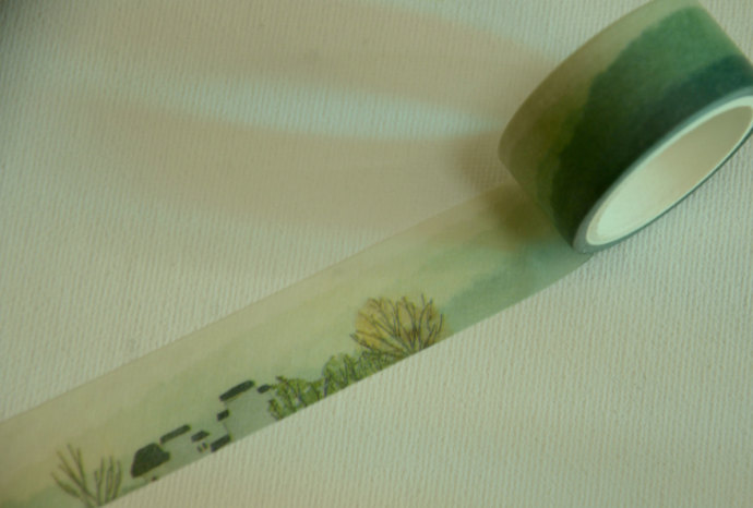1 Roll of Japanese Washi Masking Tape- Rainy Village