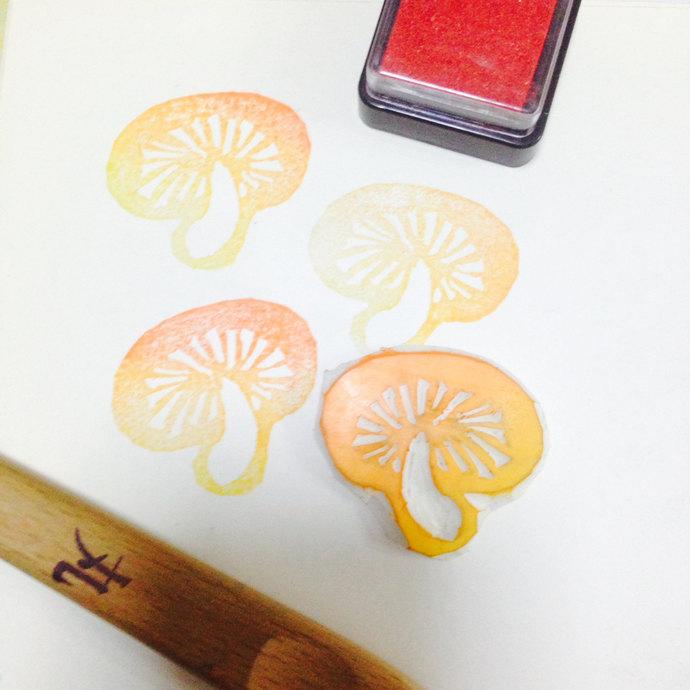 Mushroom- Handmade Unmounted Rubber stamp