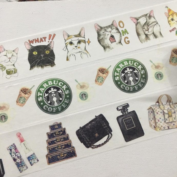1 Roll of Limited Edition Washi Tape: Funny Cats, Starbucks coffee, or Luxury