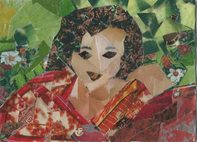 Original ACEO Collage- Lady in Red Kimono