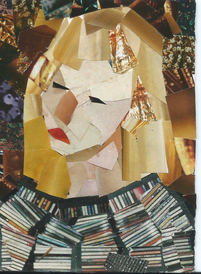 Original ACEO Collage- Thinking