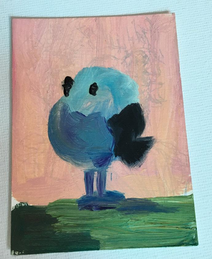 Original ACEO Oil Painting- Fat Blue Bird