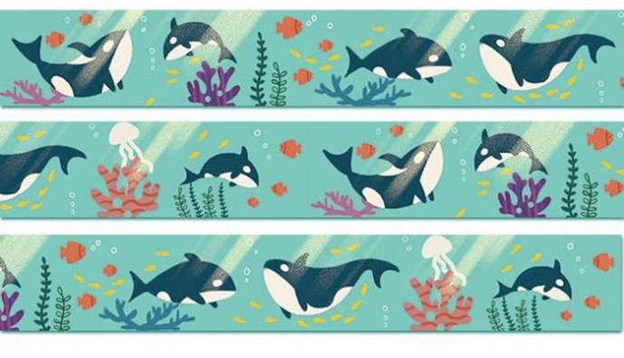 1 Roll of Limited Edition Washi Tape- Killer Whale