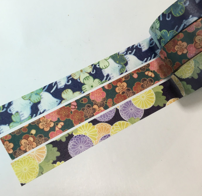 1 Roll of Japanese Tradition Patterns Washi Tape (Pick 1): Birds, Plum, or Daisy