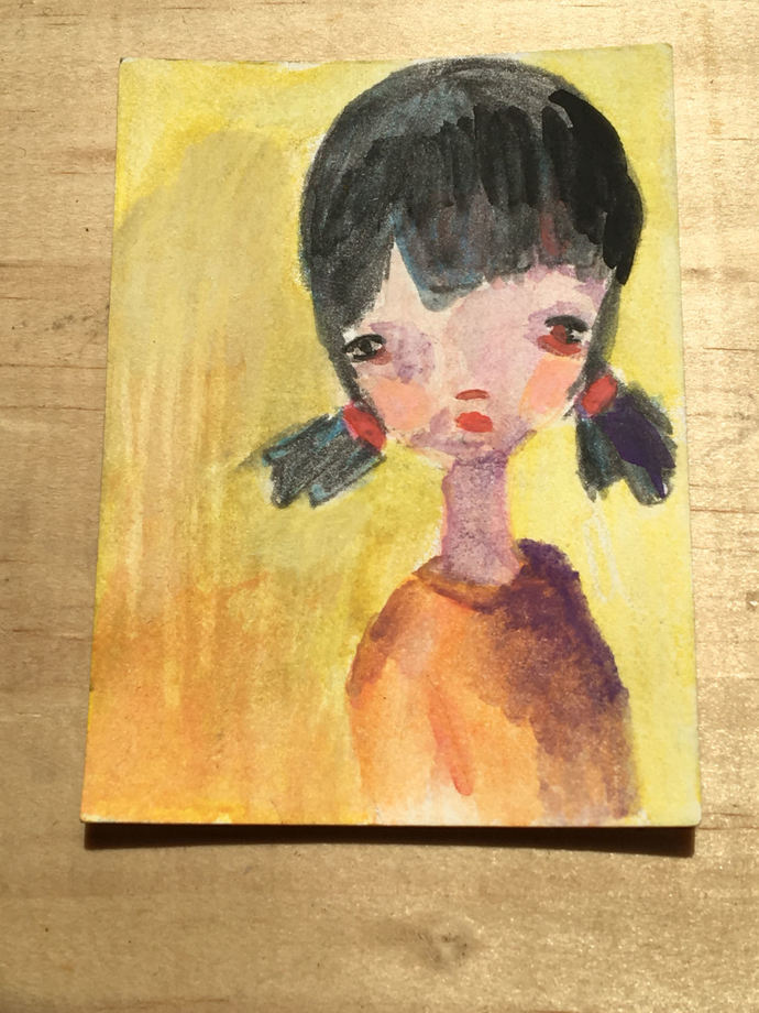 Original ACEO- Watercolor Portrait Painting: Girl with Two Ponytails