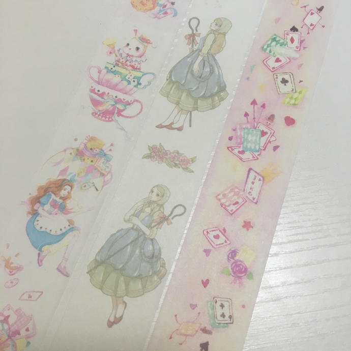 1 Roll of Limited Edition  Washi Tape: Alice in Wonderland, Shepherd, or Pokers