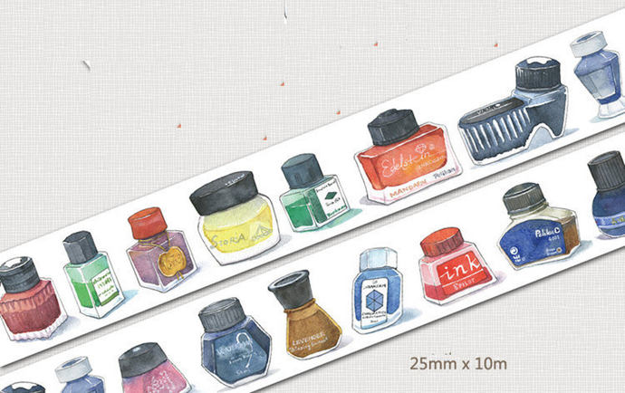 1 Roll of Limited Edition Washi Tape:Colorful Ink