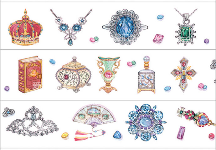 1 Roll of Limited Edition Washi Tape: Queen's Jewelry Collection