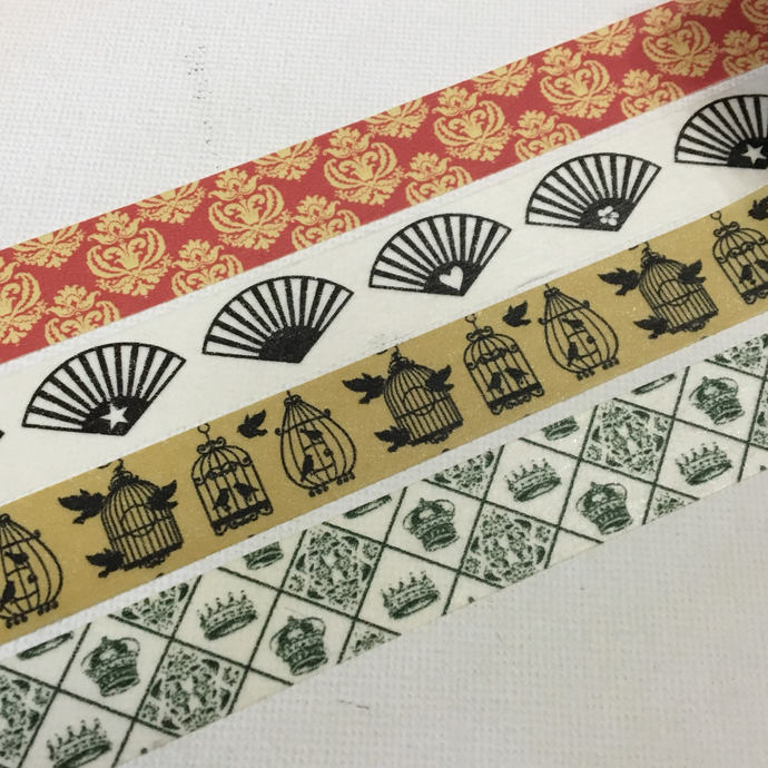 1 Roll of Japanese Washi Tape (Pick 1): Classic Victorian Motif, Japanese Fan,