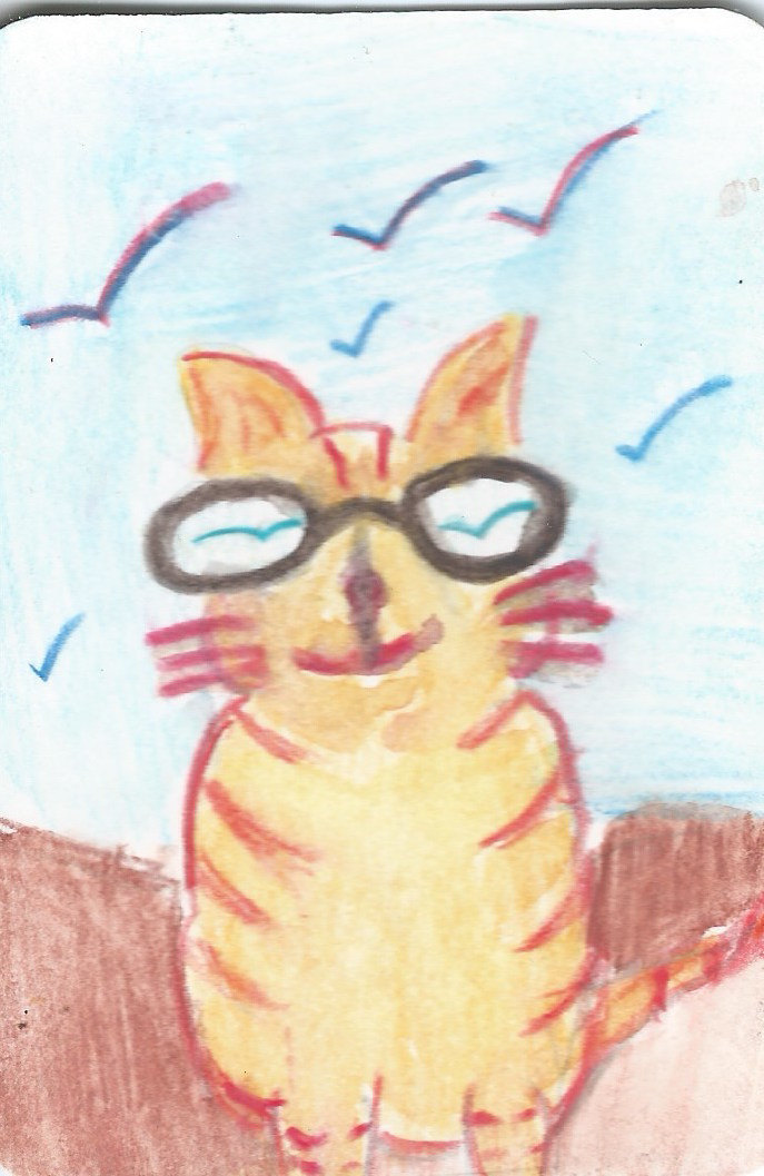 Original ACEO Watercolor Painting -A Hot Cat Under the Blue Sky