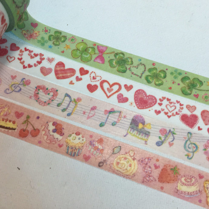 1 Roll of Japanese Washi Tape (Pick 1): Clover Leaves, Hearts,  Musical Note, Or