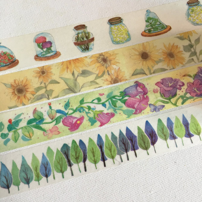 1 Roll of Japanese Washi Tape (Pick 1): Wishing Bottle, Sunflower, Campanula