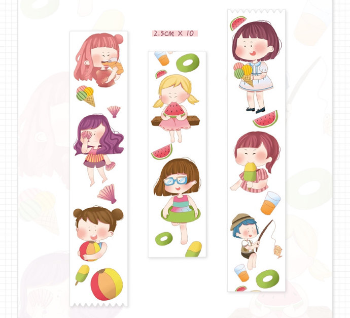 1 Roll of Limited Edition Washi Tape: Summer Fun Girls
