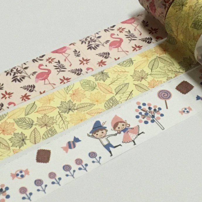 1 Roll Japanese Washi Tape (Pick 1)  Flamingo, Leaves, or Boys and Girls