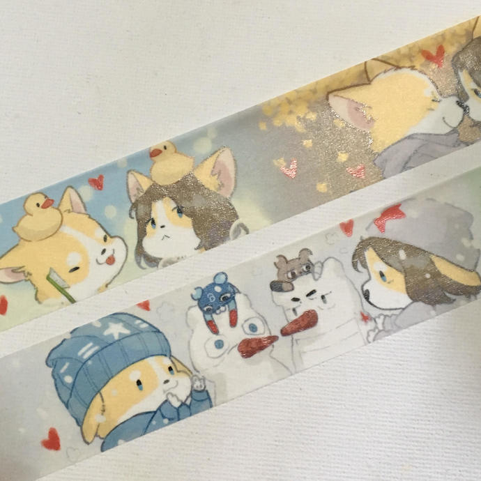 1 Roll Limited Edition Washi Tape- Corgi's Winter Lovers