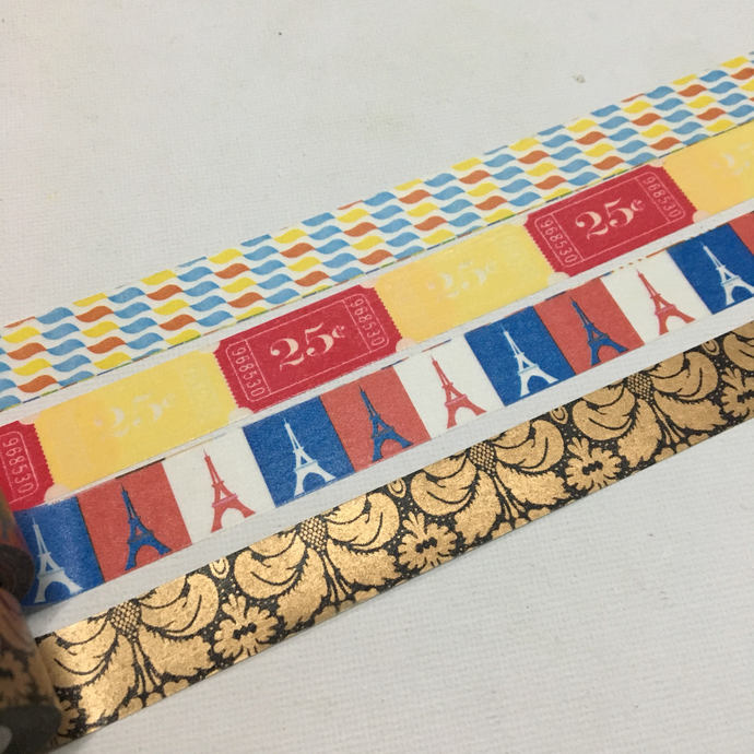 1 Roll of Washi Tape (Pick 1) Wave motif, Tickets, Paris Eiffel Tower, or