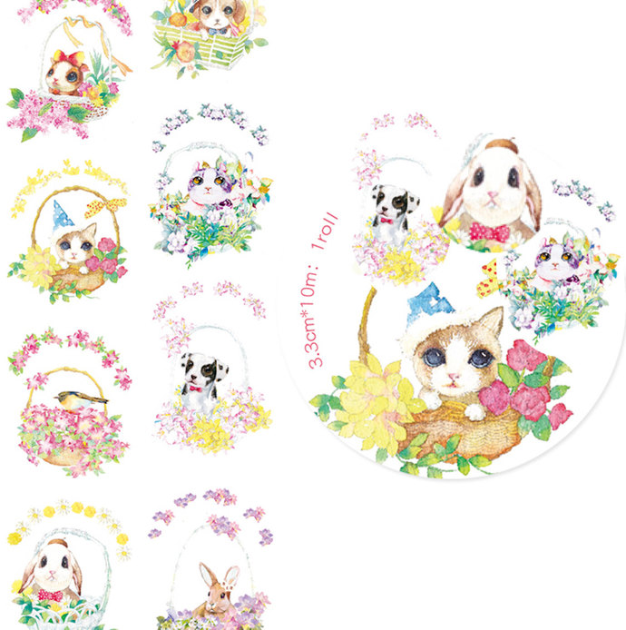 1 Roll of Limited Edition Washi Tape: Cute Animals in Basket
