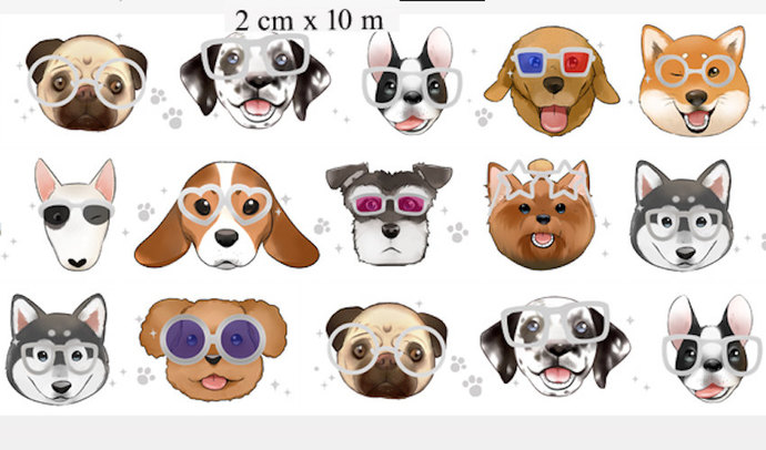 1 Roll of Limited Edition Silver Foiled Washi Tape: Dogs in Glasses