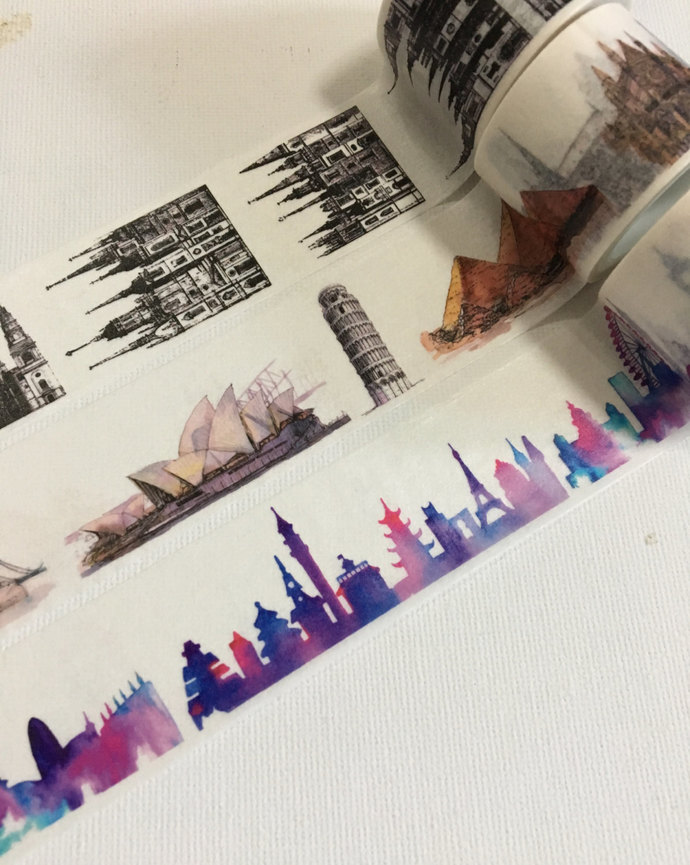 1 Roll Limited Edition Washi Tape (Pick 1): Architectural, Worldwide Landmarks,