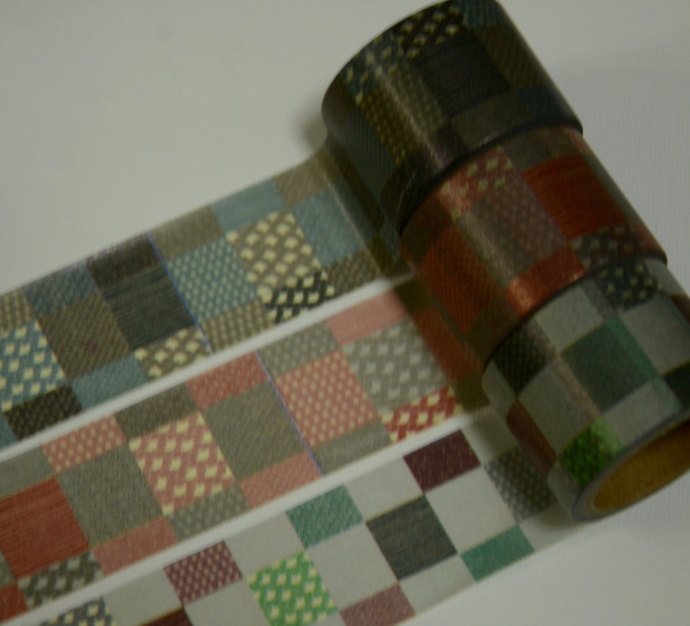 3 Rolls  of Japanese Washi Masking Tape: Traditional Japanese Square Motif