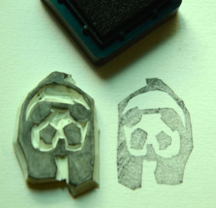 Panda- Handmade Unmounted Rubber stamp