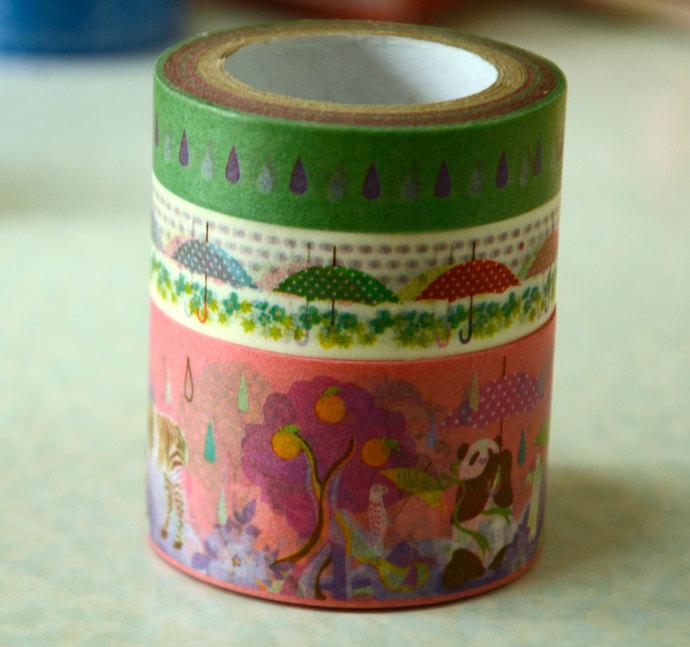 3 Roll of Japanese Washi Masking Paper Tapes by Kayo Horaguchi - Pink Panda,