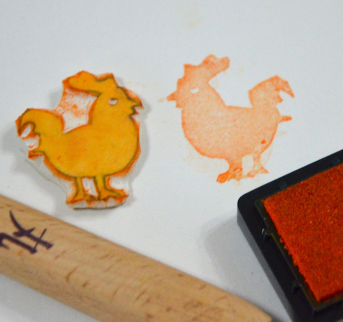Rooster - Handmade Unmounted Rubber stamp