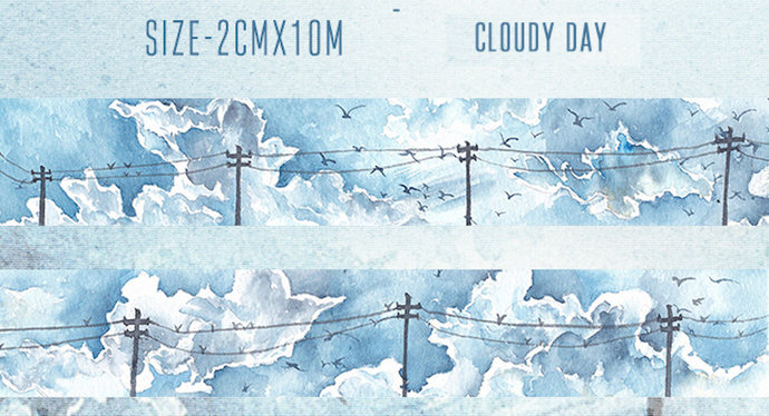 1 Roll of Limited Edition Washi Tape: Cloudy Day
