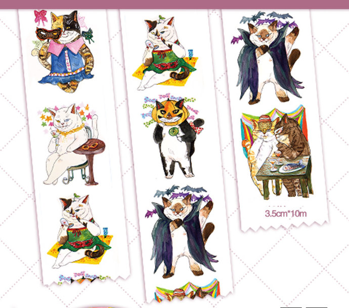 1 Roll of Limited Edition  Washi  Tape:  Cats' Wild Masquerade Party