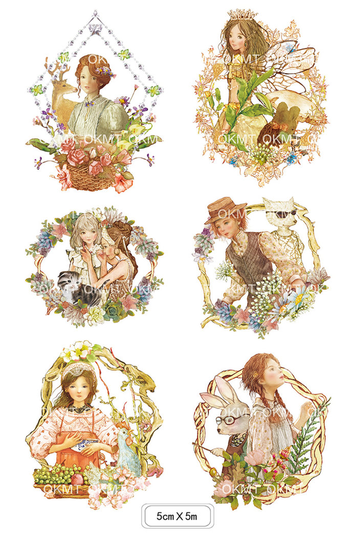 1 Roll of Limited Edition Washi Tape: Girls and Animals