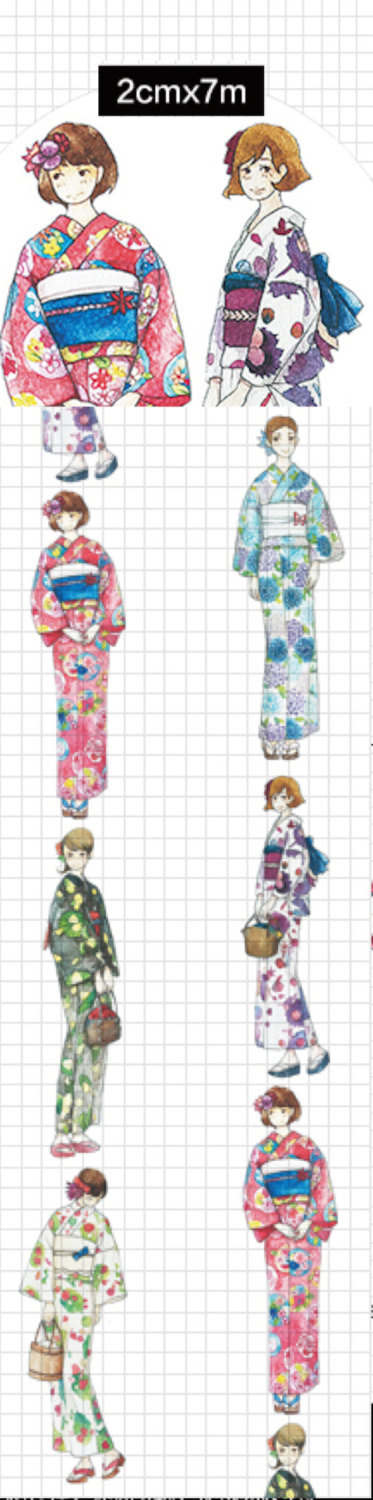 1 Roll of Limited Edition Washi Tape- Kimono Girls For Firework festival