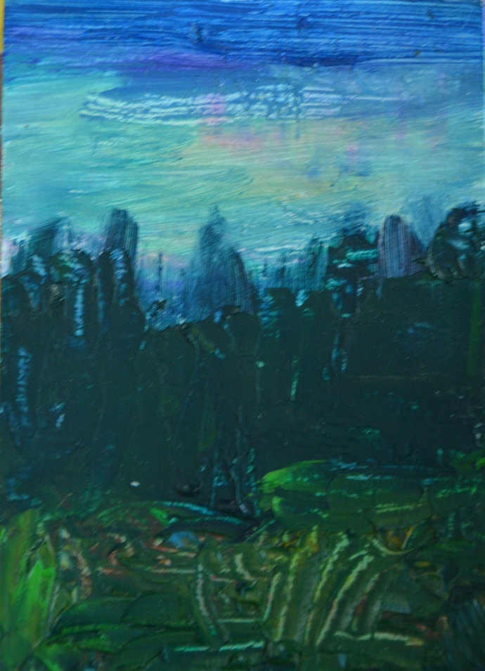 Original ACEO Oil Painting- Good Morning Forrest