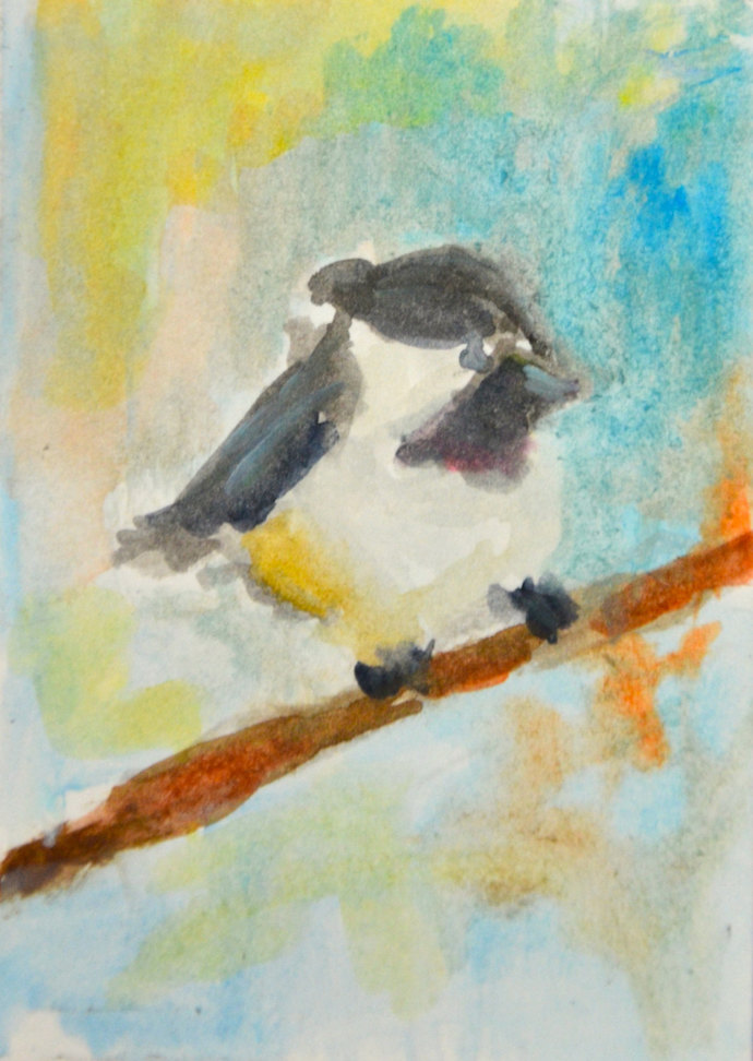 Original ACEO Watercolor Painting- Baby Junco