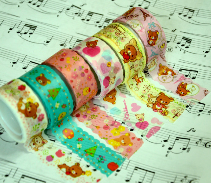 6 Rolls of Japanese Washi Tape Roll- Rilakkuma