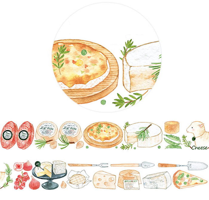 1 Roll of Limited Edition  Washi Tape- Yummy Cheese