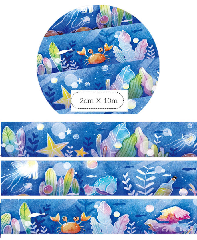 1 Roll of Limited Edition Washi Tape:  Beautiful Ocean
