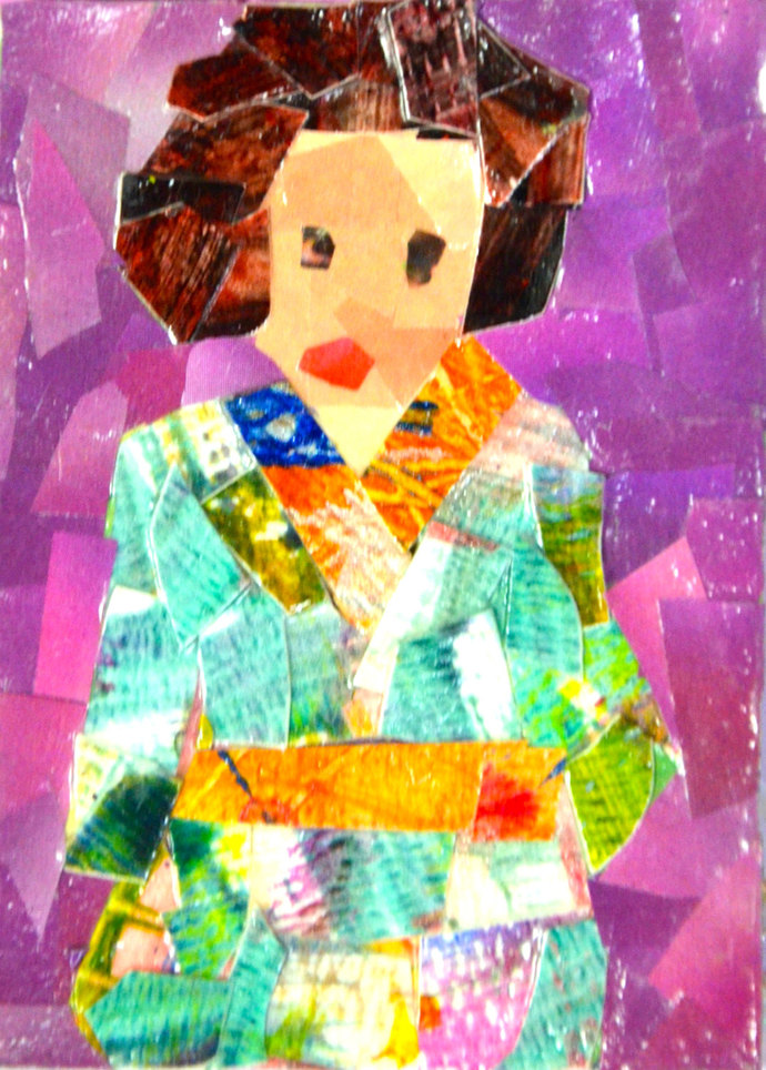 Original ACEO Collage- Lady in a Green Kimono Dress