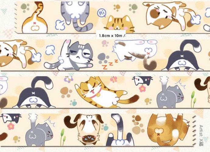 1 Roll Limited Edition Washi Tape:  Come On Kitty