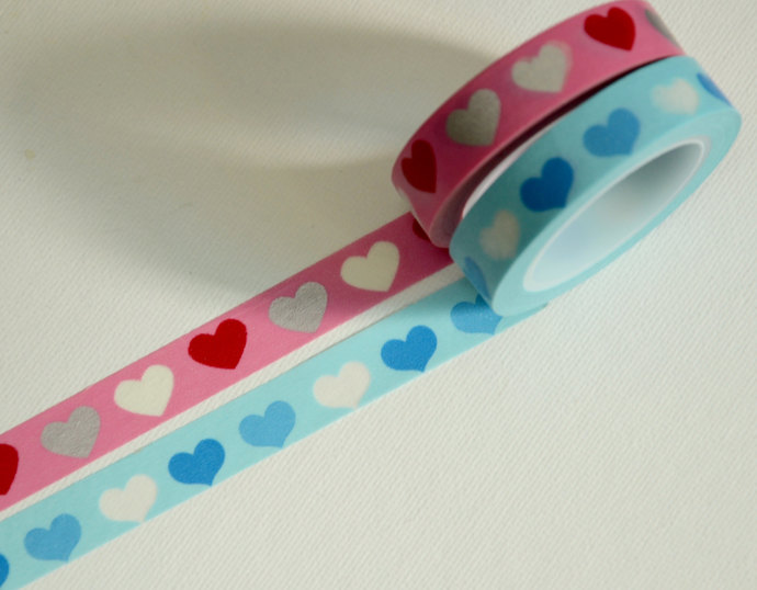 2 Rolls of Japanese Washi Tape Roll- Lovely Hearts