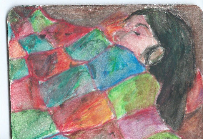 Original ACEO Watercolor Painting - Sleeping