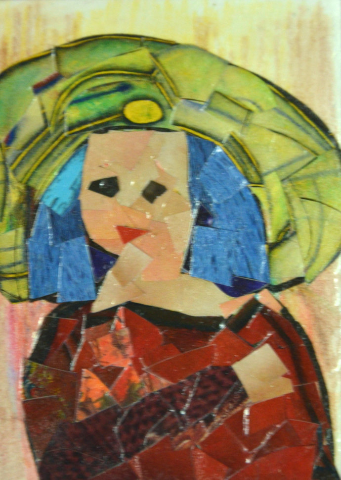 Original ACEO- Lady in a Big Green Hat