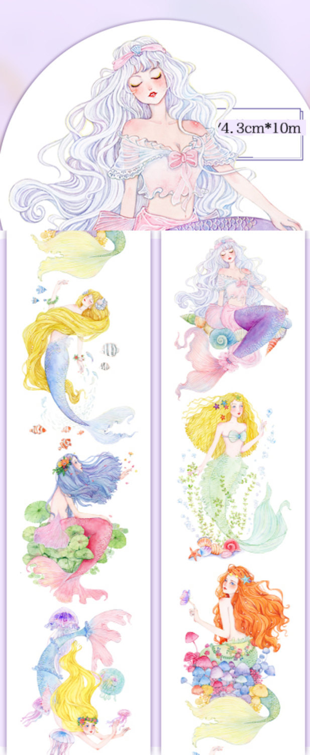 1 Roll Limited Edition Washi Tape: Lovely Mermaids