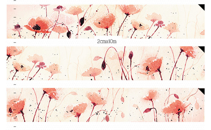 1 Roll of Limited Edition Washi Tape: Red Poppy