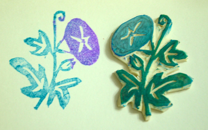 Flower- Handmade Unmounted Rubber stamp