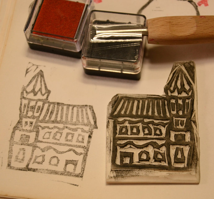 A Big House - Handmade Unmounted Rubber stamp