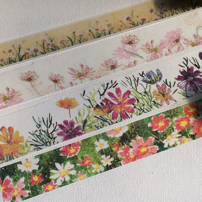 4 Rolls of Limited Edition Wash tape: Daisy Flower Blossom