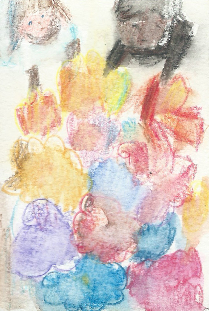 Original ACEO Watercolor Painting- Kids in the Garden