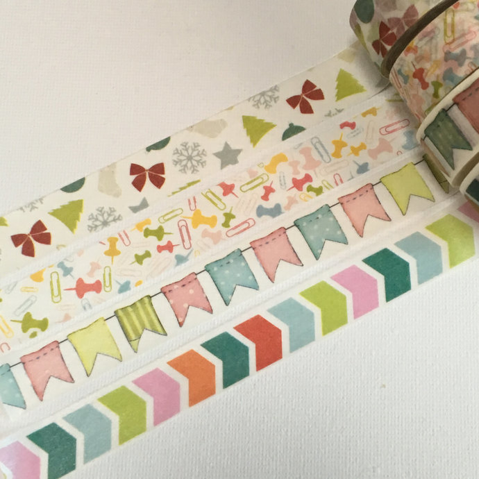 1 Roll of Japanese Washi Tape Roll- Christmas Themes, Colorful Garlands, Pushpin