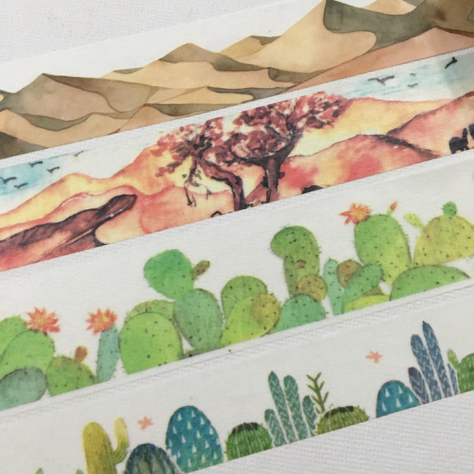 SAMPLE: 4 Designs of  Desert Oasis Theme Limited Edition Washi Tape (1m each)
