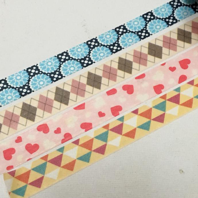 1 Roll Japanese Washi Tape (Pick 1) Blue Flower, Diamond Shape, Hearts, or